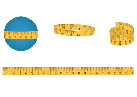 Conjunto - cinta métrica, amarillo, en un rollo y largo - aislado en fondo blanco - ilustración de arte vectorial Ilustración de vector
