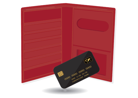 Black bank card with red wallet - isolated on white - vector art illustration