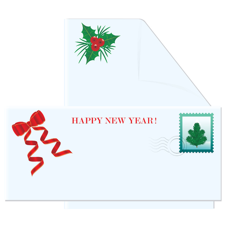 Christmas postal envelope - blank letterhead with holly leaves and red berries - postage stamp with christmas tree - isolated on white - art vector Vectores