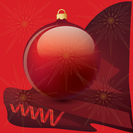 Ball realistic dark red - bright serpentine - on an abstract background - art illustration vector. New Years poster, banner, postcard. Illustration