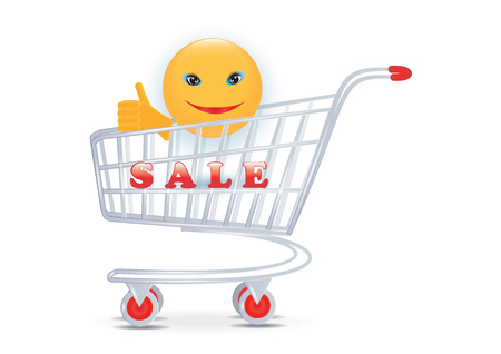 Sale - cheerful smiley in shopping cart - isolated on white background - art vector Stock Illustratie