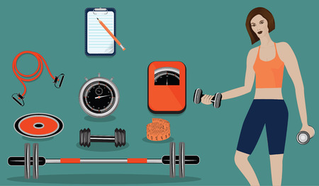 Woman with dumbbells and a set of sports equipment for fitness, stopwatch, scales - art illustration vector.