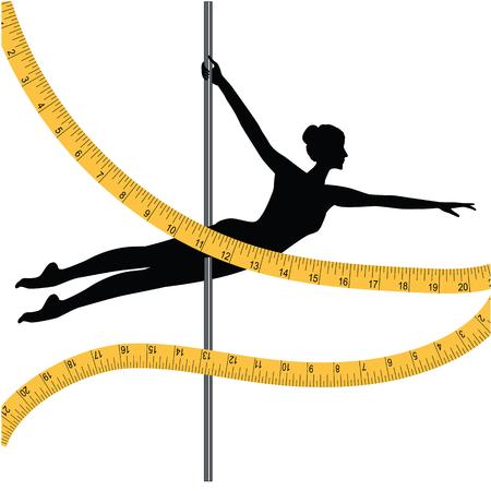 Sporten die op pool dansen - vrouw en die band meten - op witte achtergrond wordt geïsoleerd - kunst vectorillustratie. Banner. Controle van het cijfer. Stock Illustratie