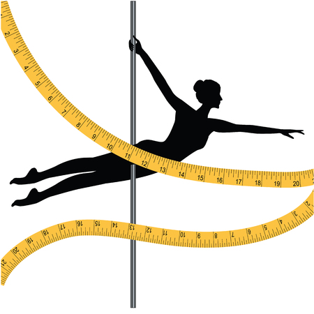 Sports dancing on pole - woman and measuring tape - isolated on white background - art vector illustration. Banner. Control of the figure.