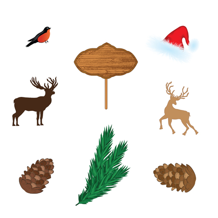 Northern deer, fawn, billboard, fir branch, cone, bullfinch Santa Claus hat. Set for decorating New Year`s layouts - isolated on white background - design element. Vector Illustration.