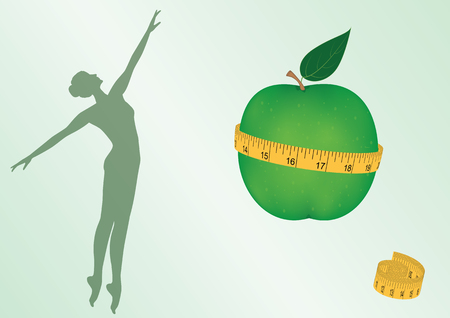Silhouette of woman, green apple clasped by measuring tape - isolated on white background - art vector illustration. Banner. Diet. Control of the figure.