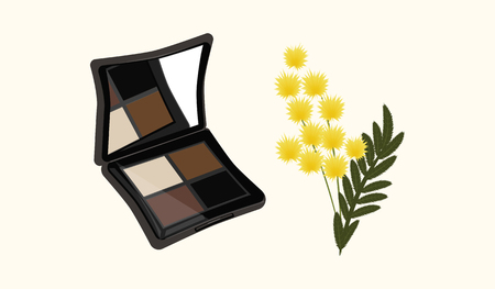 Open Cosmetic set brown shadows - Yellow flowers on a branch - isolated on white background - vector illustration abstract art Illustration