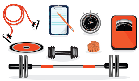 Set of sporting equipment for fitness, dumbbells, jumping rod, stopwatch, scales - isolated on white background - vector art illustration. Stock Illustratie