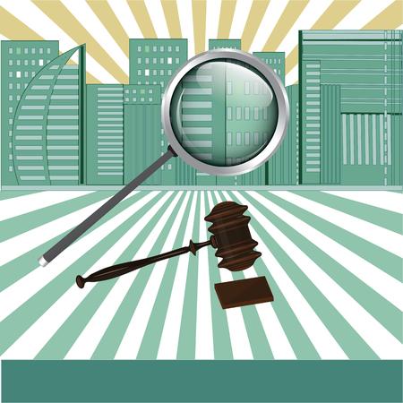 Poster for real estate agency - City, hammer, stand, magnifier, - light background - art creative modern vector illustration Illusztráció