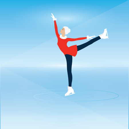 Woman on skates - Figure skating on ice - gently blue background - art creative illustration vector
