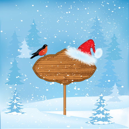 Winter snow-covered forest, Santa Claus hat, bullfinch, advertisement board - art modern abstract, vector illustration. Christmas, New Year, Banner Illustration