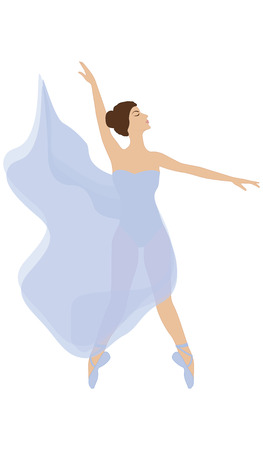 Dancer in ballet slippers and in transparent attire - isolated on white background - art vector. Иллюстрация