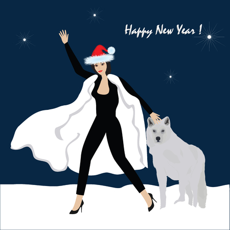 Woman with a dog congratulates with a New Year - winter night landscape - art creative modern vector picture Ilustração