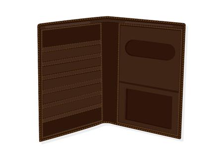 Wallet open dark brown - isolated on white - flat style - vector art illustration