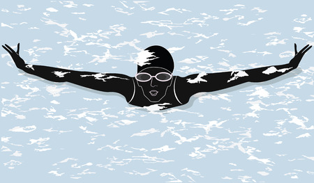 Swimmer - abstract water splash - vector art illustration. minimalism, flat style.  イラスト・ベクター素材