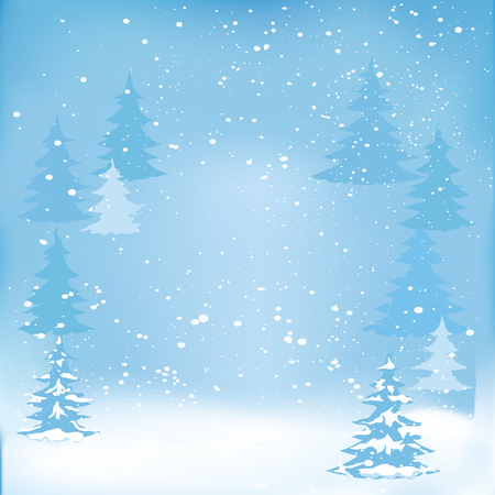 Winter background gently blue abstract - fir forest, falling snow - art creative illustration vector