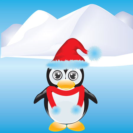 Penguin cartoon in a Santa Claus hat on a background of an iceberg - art vector illustration
