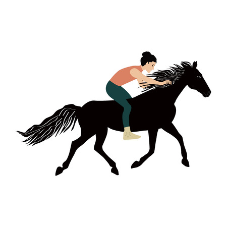 Woman without saddle on a galloping horse - isolated on white background - art vector illustration.