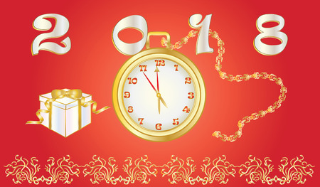 New year card - Pocket watch on a chain - gift box - gold ornament on a red background - vector art illustration Ilustracja