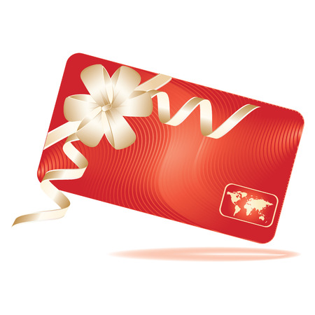 Gift card bright red with hologram world map - gentle bow - isolated - vector art illustration
