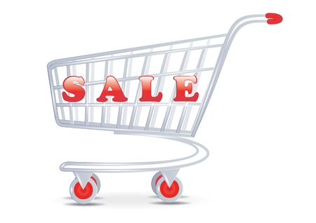 Sale - Shopping cart - isolated on white background - art vector
