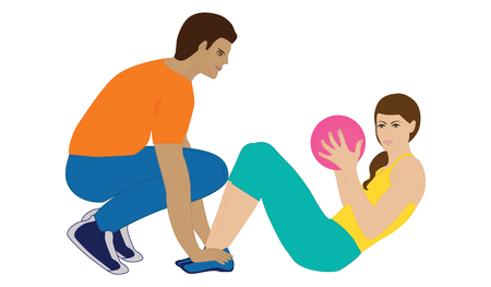 Personal trainer - man holds exercises with woman on balance with ball - isolated on white background - vector art illustration. Sports poster
