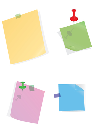 Set of colored stickers with curved corner - clerical button - isolated on white background - vector art illustration