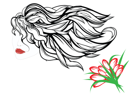 Long developing hair - womans face - red lips - bouquet of flowers - tulips - isolated on white background -art abstract vector illustration