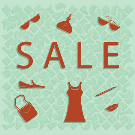 Sale - set of female accessories and clothes - isolated on light green background - art vector illustration. Illustration