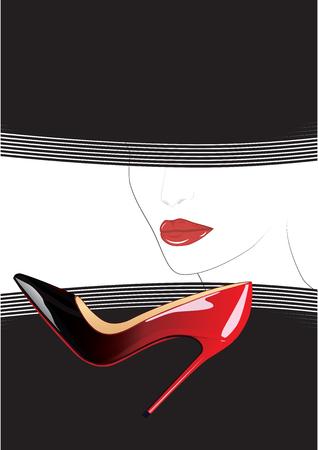 sketch - female face - red lips - black veil - realistic high-heeled shoes - art creative modern vector illustration Illustration