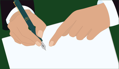 Hands of a businessman in a business suit, pen makes a signature on a sheet of paper - art vector illustration