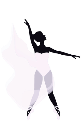 Sketch - ballet dancer in a long transparent cape - isolated on white background - art vector.