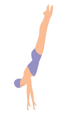 Schwimmer in der Farbe springt springt - isoliert auf weißem Hintergrund - Kunst Vektor-Illustration