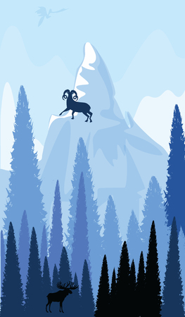 Mountain landscape - Goat stands on a snowy peak - Elk in a dark spruce forest - vector art illustration. Travel Poster