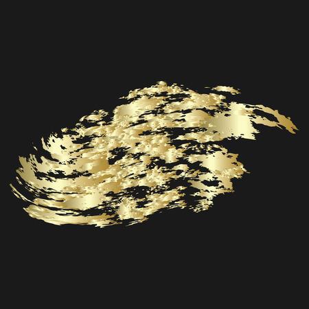 Brush stroke, splash, isolated gilded on black background. Vector art illustration.