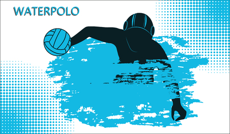 Water polo icon. Gambling athlete with ball, wave in grunge style. Isolated on white background, vector illustration. 일러스트
