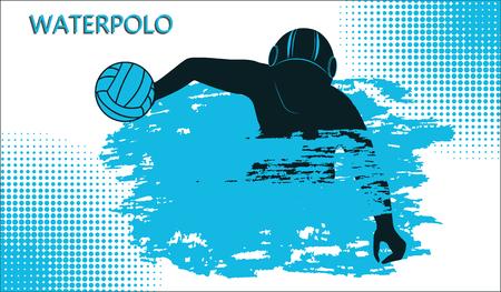 Waterpolo pictogram. Gokkende atleet met bal, golf in grungestijl. Geïsoleerd op witte achtergrond, vectorillustratie. Vector Illustratie