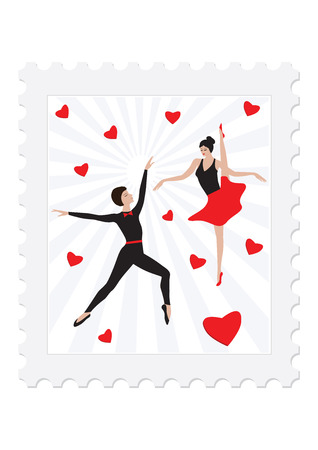 Postage stamp - Dance - Ballet couple surrounded by red hearts - isolated on white background - vector art illustration. Illustration