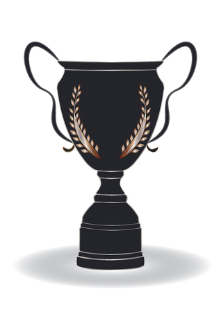 Prize winning cup black with gold and silver laurel branch, isolated on white background. Vector art illustration.