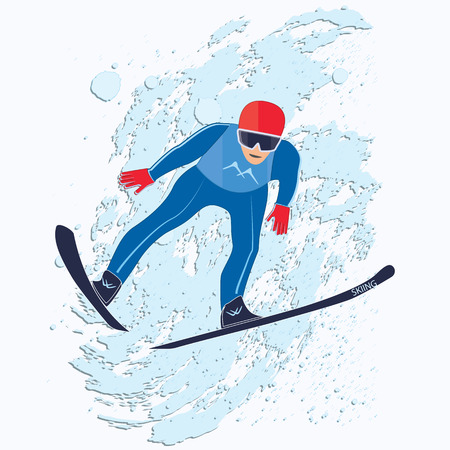 Skier takes off in a whirlwind of snow -wipe brush in grunge style - isolated on white background - vector art illustration