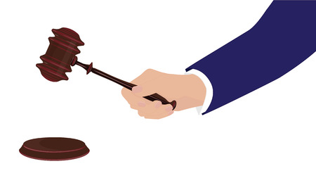 Businessman hand with judicial hammer, isolated on white background. Vector art illustration. Stock Illustratie