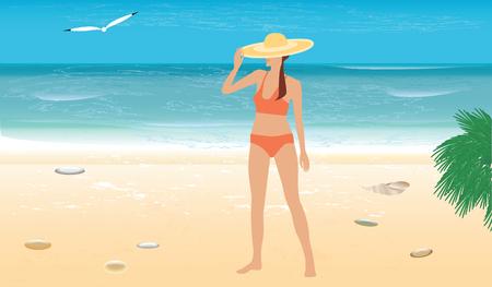 Fille au chapeau et maillot de bain sur la plage de sable - vagues, surf, mouette - illustration vectorielle art. Affiche de voyage.