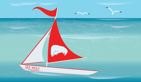 Seascape - White Boat with Red Sail - Sea Wolf Emblem - vector art illustration Travel Poster Ilustrace