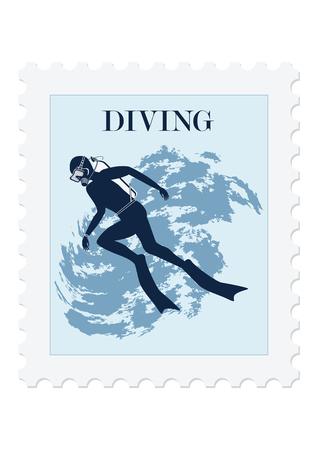 Postage stamp, diver in mask and fins. Isolated on white background. Vector art illustration. Sports collection. Ilustração