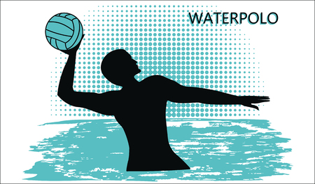 Water polo silhouette of player with ball, wave in grunge style. Isolated on white background, vector illustration.