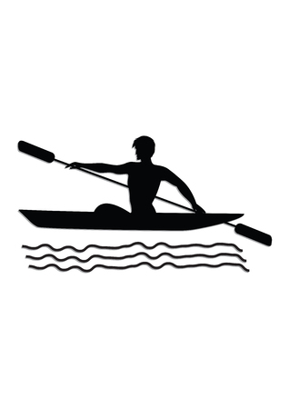 Rowing kayak - isolated on white background - vector illustration