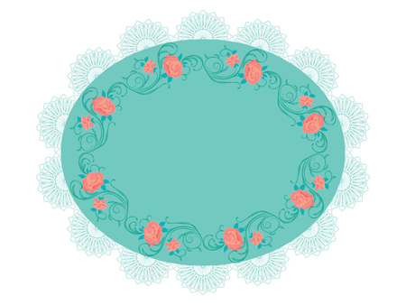 Roses on a lacy turquoise round frame, isolated on a white background.