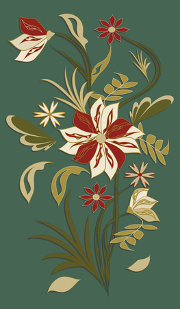 Bouquet of abstract original flowers, isolated on dark green background. Vector art illustration. Illustration
