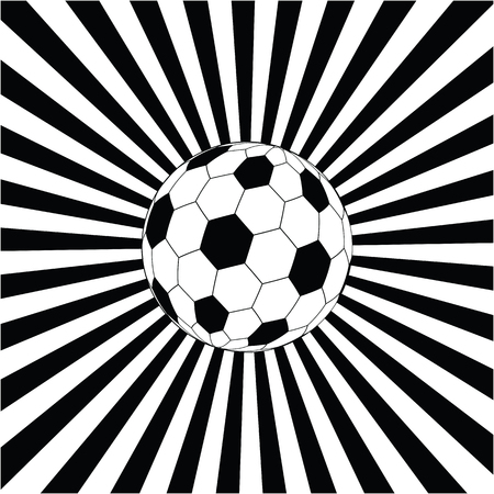 Soccer ball in against the background of black and white divergent rays. Art vector illustration. Illustration