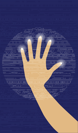 Hand manipulates on a transparent screen with electronic computer symbol. Abstract blue background, vector illustration. Ilustração